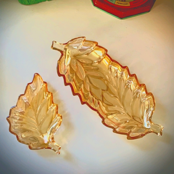 1950's Marigold Leaf Carnival Glass Relish Dishes